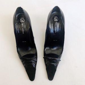St. John Black Suede Patent Heels